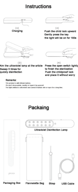 portable uv sterilizer packing instructions