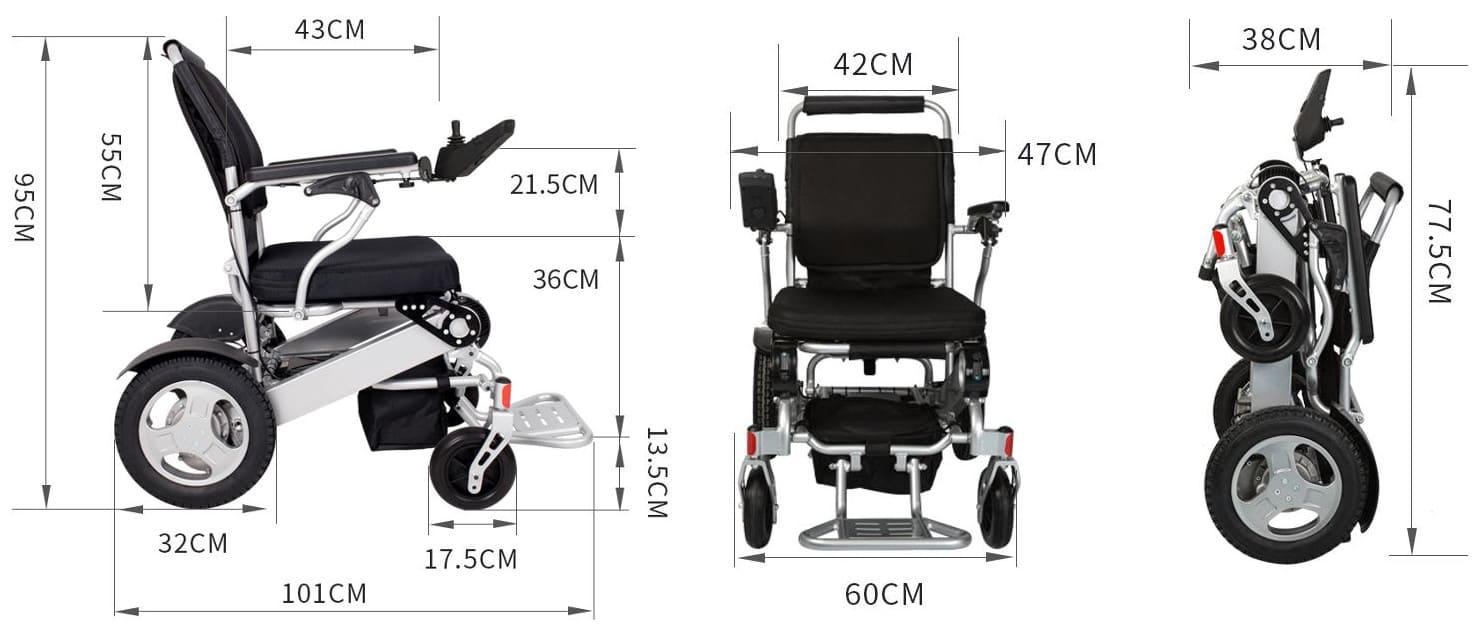 powered wheel chair dimensions