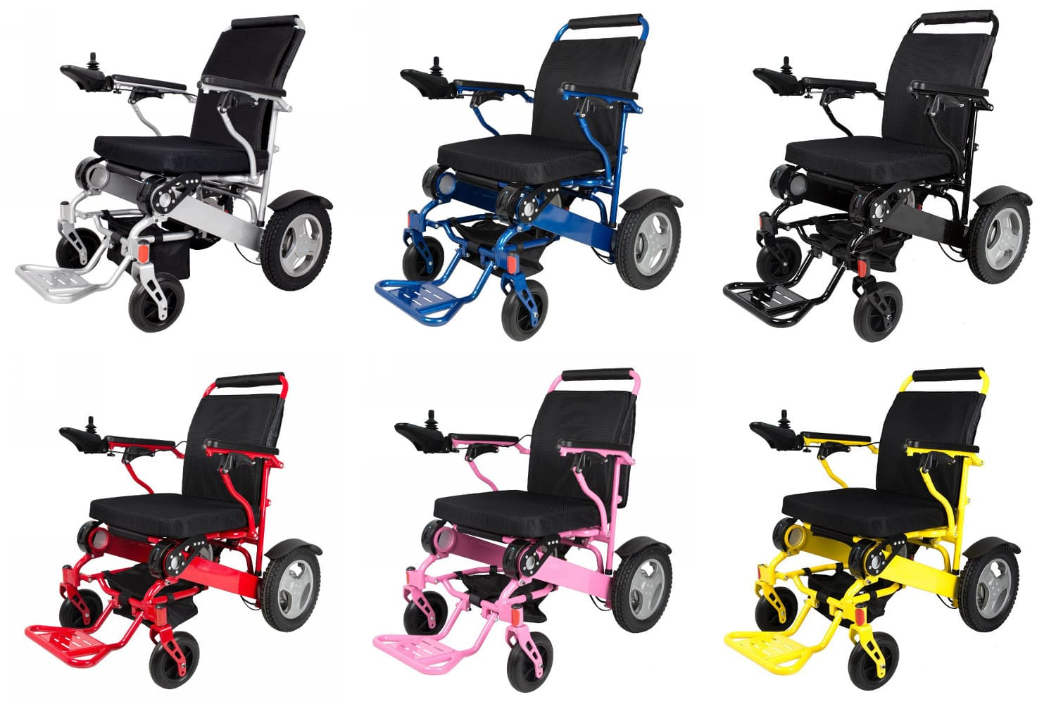 Powered Wheel Chair colors: Silver, Blue, Black, Red, Pink, Yellow