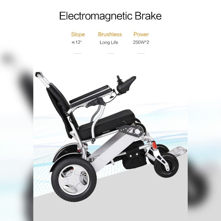 powered wheel chair on slope electromagnetic brake