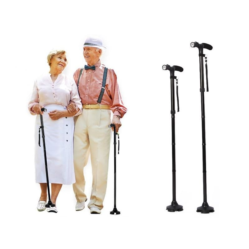 elderly couple with walking stick